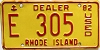 1982 Rhode Island Used Dealer # E 305