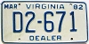 1982 VIRGINIA Dealer license plate # D2-671