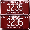 1983 Missouri Vanity pair # 3235