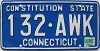 1983 CONNECTICUT Constitution State license plate # 132-AWK
