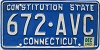 1983 CONNECTICUT Constitution State license plate # 672-AVC