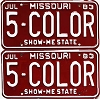 1983 Missouri Vanity pair # 5-COLOR