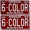 1983 Missouri Vanity pair # 6-COLOR