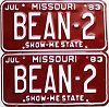1983 Missouri Vanity pair # BEAN-2