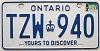 1983 ONTARIO Yours To Discover license plate # TZW-940