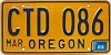 1983 Oregon license license plate # CTD-086