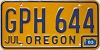 1983 Oregon license license plate # GPH-644