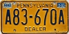 1983 PENNSYLVANIA DEALER license plate # A83-670A
