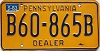 1983 PENNSYLVANIA DEALER license plate # B60-865B