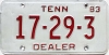 1983 TENNESSEE Dealer license plate # 17-29-3