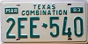 1983 TEXAS COMBINATION license plate # 2EE-540