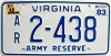 1983 Virginia Army Reserve # 2-438