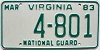 1983 VIRGINIA NATIONAL GUARD license plate # 4-801