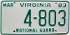 1983 VIRGINIA NATIONAL GUARD license plate # 4-803