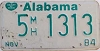 1984 ALABAMA Mobile Home license plate # 5 1313