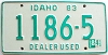 1984 IDAHO Used Car Dealer license plate # 1186-5