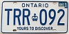 1984 ONTARIO Yours To Discover license plate # TRR-092