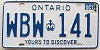 1984 ONTARIO Yours To Discover license plate # WBW-141