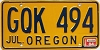 1984 Oregon license license plate # GQK-494