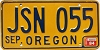 1984 Oregon license license plate # JSN-055