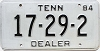 1984 TENNESSEE Dealer license plate # 17-29-2