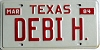 1984 TEXAS Vanity license plate # DEBI H