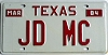 1984 TEXAS Vanity license plate # JD MC