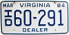 1984 Virginia Independent Dealer # 60-291
