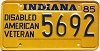 1985 Indiana Disabled Veteran graphic # 5692