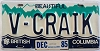 1985 British Columbia Vanity graphic # V-CRAIK