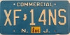 1985 NEW JERSEY Commercial license plate # XF-14NS