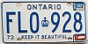 1985 ONTARIO Keep It Beautiful license plate # FLO-928
