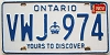 1985 ONTARIO Yours To Discover license plate # VWJ-974