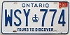 1985 ONTARIO Yours To Discover license plate # WSY-774