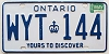 1985 ONTARIO Yours To Discover license plate # WYT-144