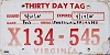 1985 VIRGINIA Thirty Day temp tag # X134-545