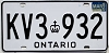 1986 ONTARIO Commercial license plate # KV3-932