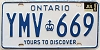 1986 ONTARIO Yours To Discover license plate # YMV-669