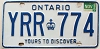 1986 ONTARIO Yours To Discover license plate # YRR-774