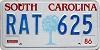 1986 SOUTH CAROLINA graphic license plate # RAT-625