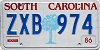 1986 SOUTH CAROLINA graphic license plate # ZXB-974