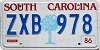 1986 SOUTH CAROLINA graphic license plate # ZXB-978
