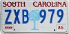 1986 SOUTH CAROLINA graphic license plate # ZXB-979