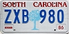 1986 SOUTH CAROLINA graphic license plate # ZXB-980