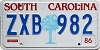 1986 SOUTH CAROLINA graphic license plate # ZXB-982