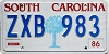 1986 SOUTH CAROLINA graphic license plate # ZXB-983