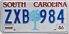 1986 SOUTH CAROLINA graphic license plate # ZXB-984