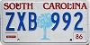 1986 SOUTH CAROLINA graphic license plate # ZXB-992