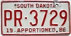 1986 South Dakota Apportioned # PR-3729