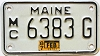 1987 MAINE Motorcycle license plate # 6383G